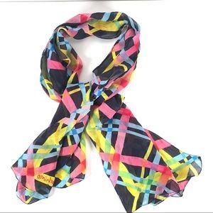 Moschino Silk Scarf Bright Color Plaid Black Base